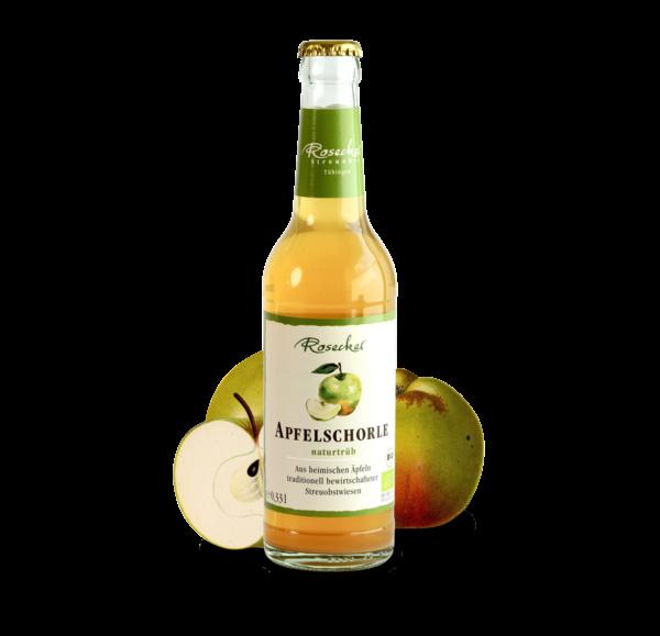 Apfelschorle Flasche mit Apfel